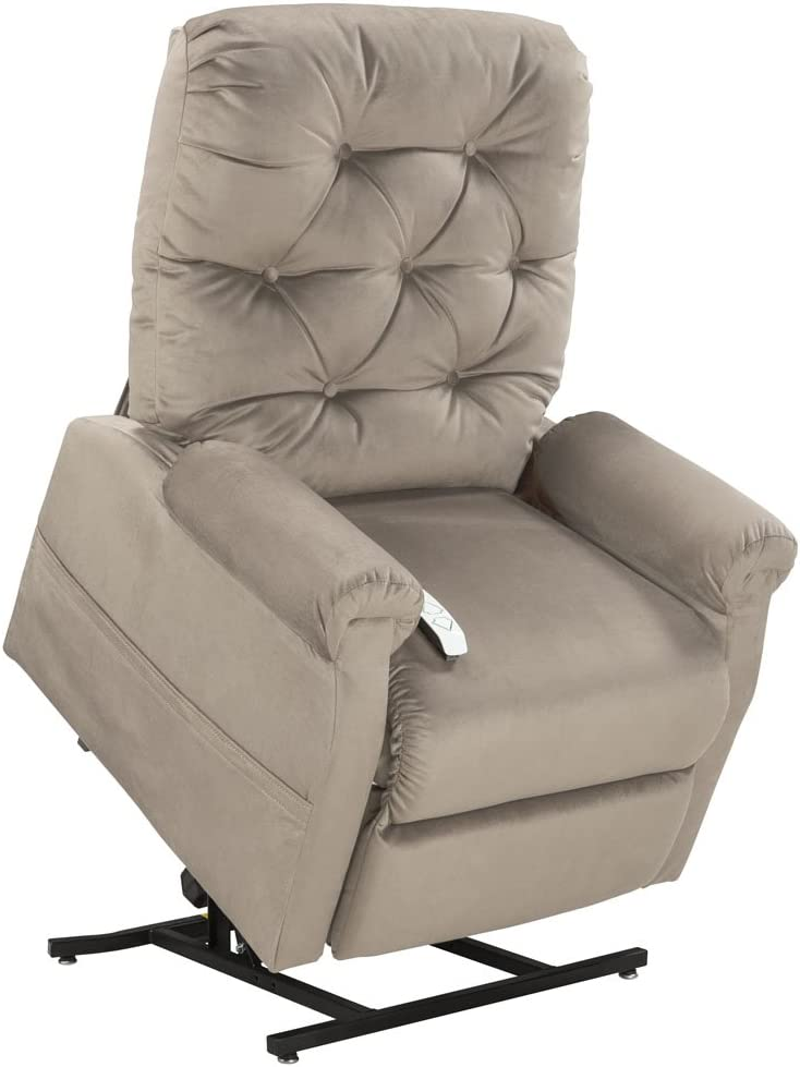 Mega Motion Lift Chair Easy Comfort Recliner LC 200 3 Position Rising Electric Power Chaise Lounger Chocolate Brown Color Fabric