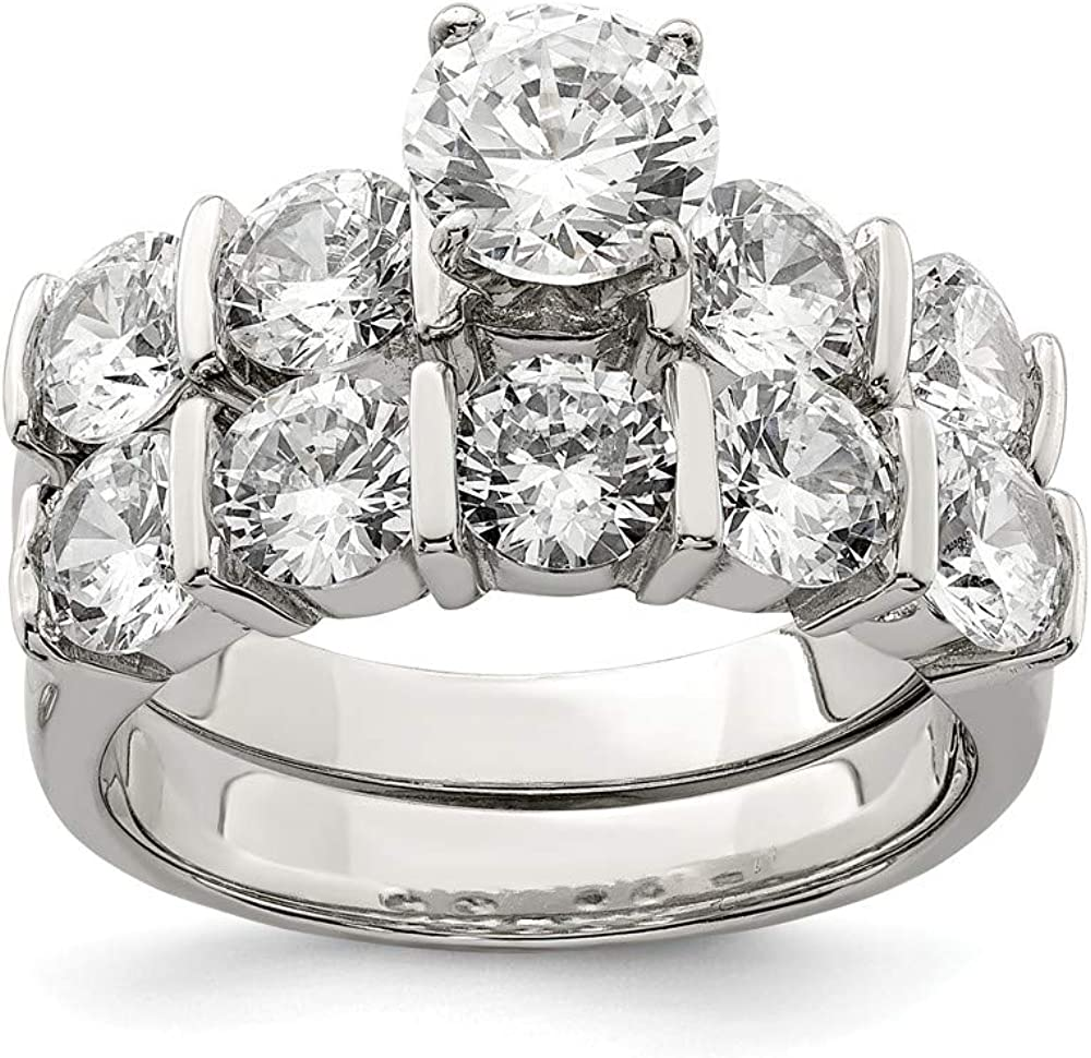 Sterling Silver Ring Stone Ring 2-Piece CZ Wedding Set Ring