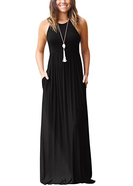 9c1ccc3e4f07 SVALIY Summer Womens Sleeveless Tunic Causal Long Maxi Beach Dresses with  Pockets Black S