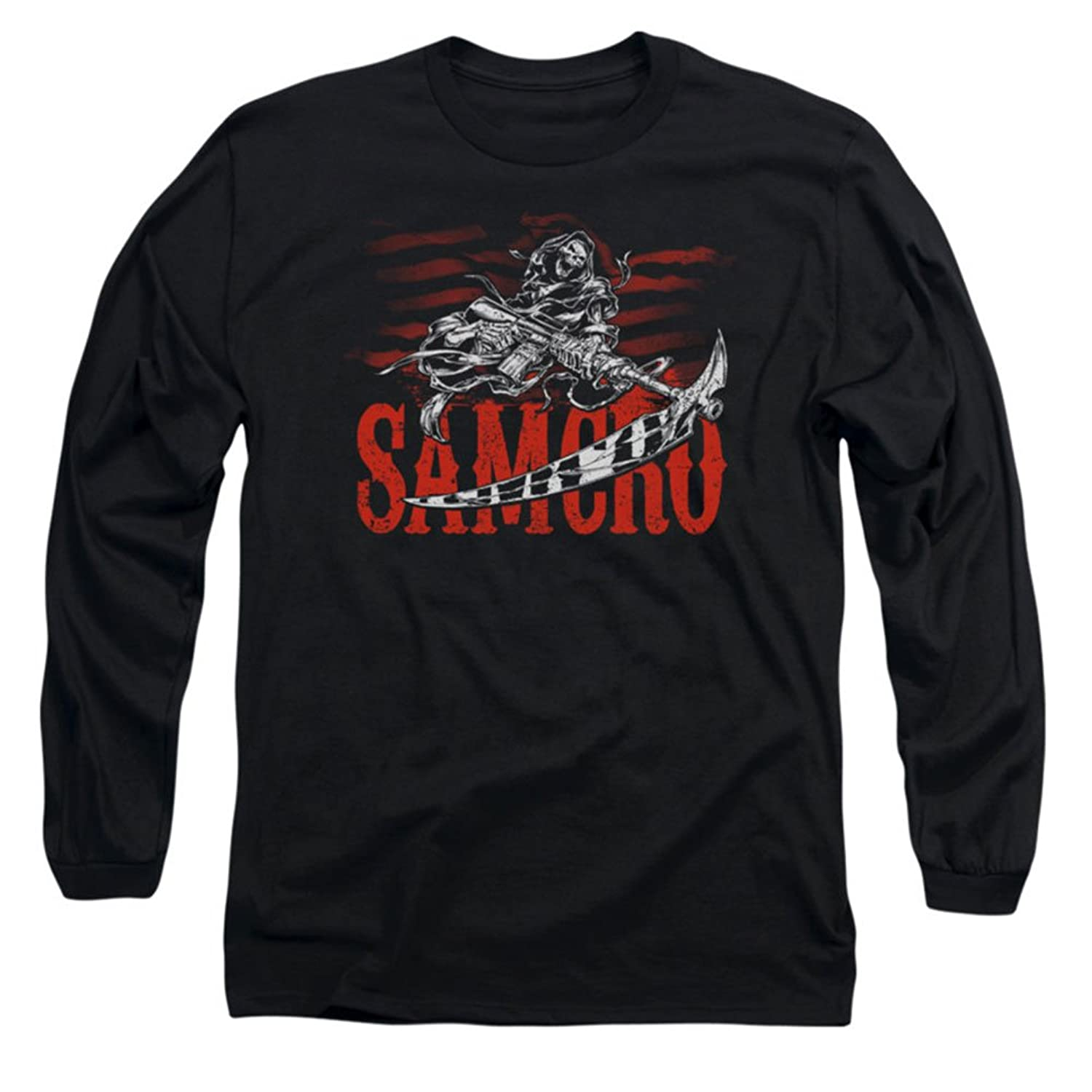 Sons Of Anarchy TV Samcro Logo With Reaper Gun And Blade Adult L-Sleeve T-Shirt