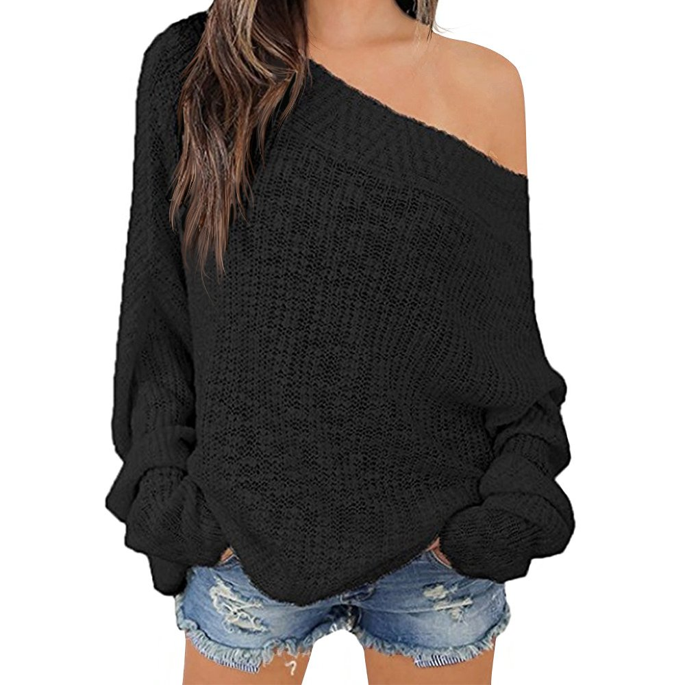 Exlura Women's Off Shoulder Batwing Sleeve Loose Oversized Pullover Sweater Knit Jumper - Black, S/M/L(8/10/12)