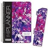 HARDCOVER Academic Year Planner 2018-2019 - 5.5''x8'' Daily Planner / Weekly Planner / Monthly Planner / Yearly Agenda. Bonus BOOKMARK (Purple Art)