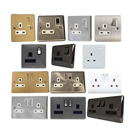 1&2 gang 13a wall socket outlet electrical single double white chrome plug  (bv409gme 1 gang): amazon co uk: kitchen & home