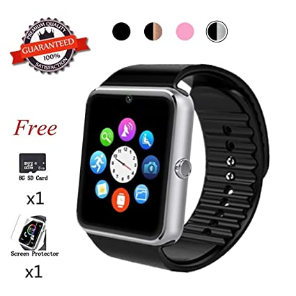 Beaulyn Bluetooth Smart Watch,Touch Screen Sport Wrist Watch Phone for Android Pedometer Smartwatch Compatible Samsung Men Women (Light Silver)