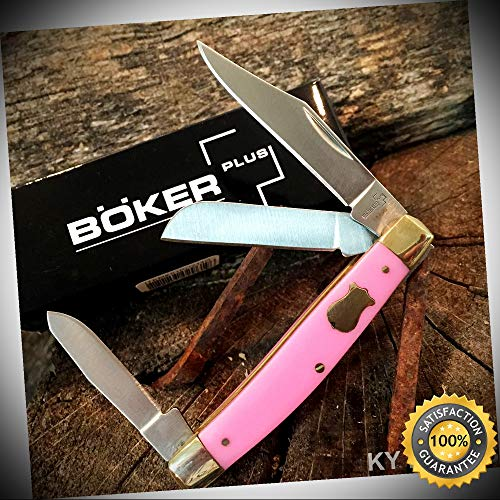 (BOKER PLUS Stockman Folding Pocket Knife 3 1/4'' PINK Handles BO234P - Outdoor For Camping Hunting Cosplay)