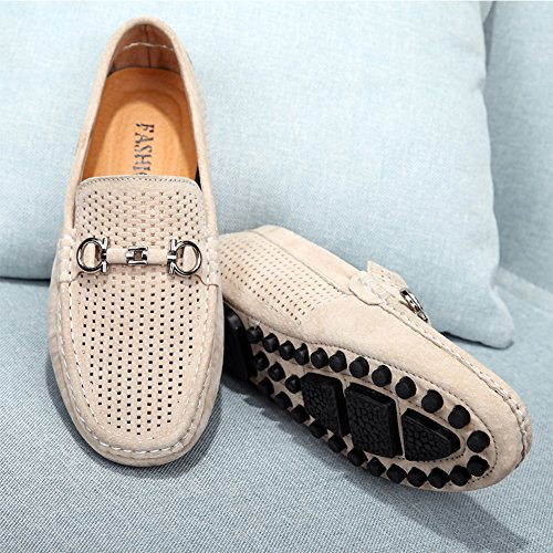 Yaer Mocassins en Daim Classiques pour Hommes, Léger Décontracté Creux Respirant Chaussures Bateau Mocassins Blanc