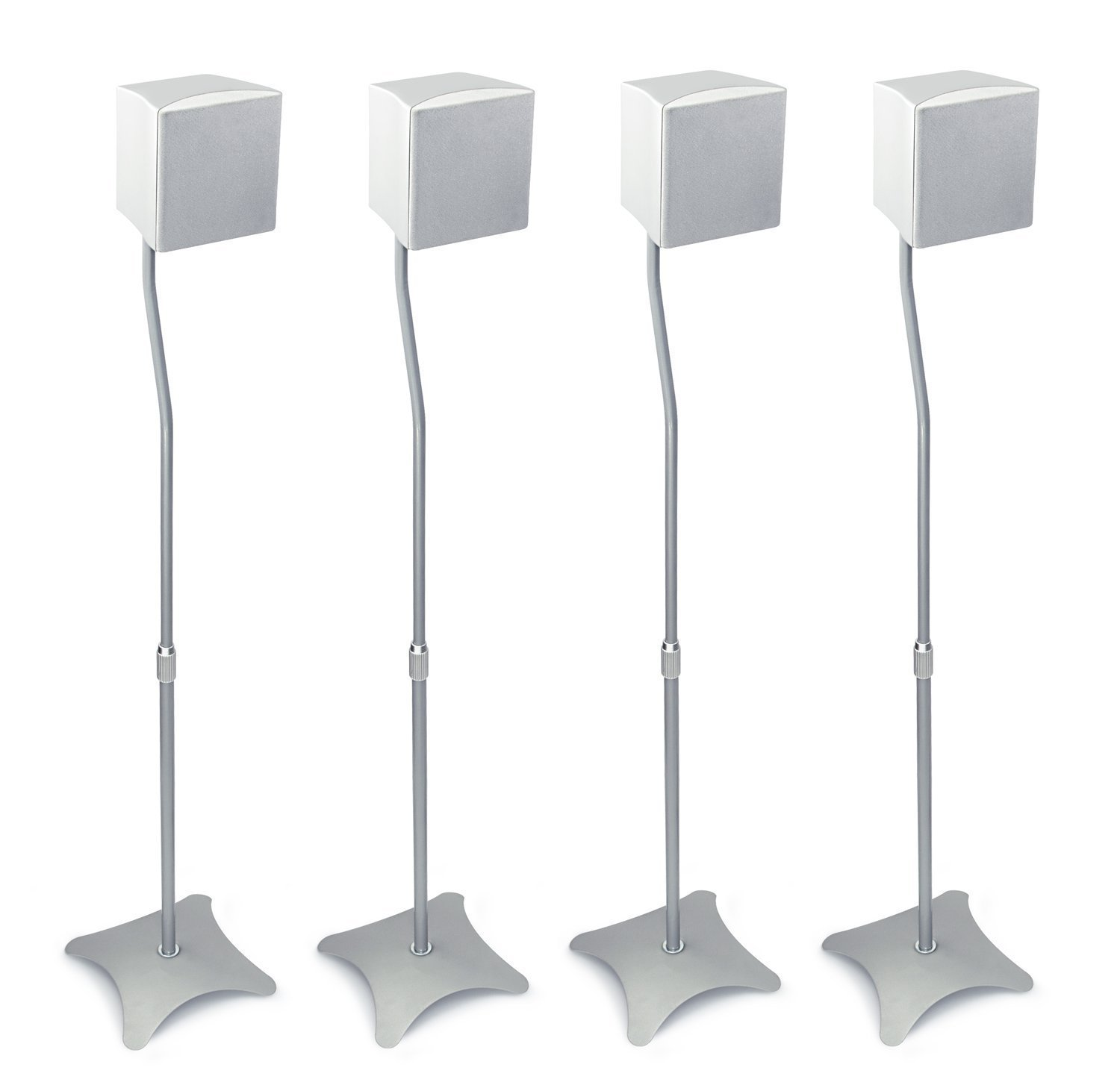 Mount-It! MI-1214S Speaker Stands for Home Theater 5.1 Channel Surround Sound System Satellite Speaker Stands Mounts, Rear and Front, 2 Pairs, 10 lb Capacity, Silver Moun-It! 4330169888