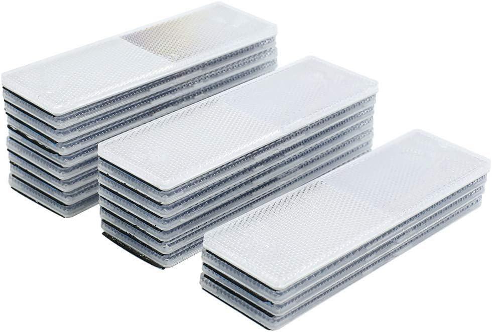 Reemky 10PCS Automotive Car White Rectangle Stick-on Safety Reflector Plate w//o Holes (Quantity Optional)