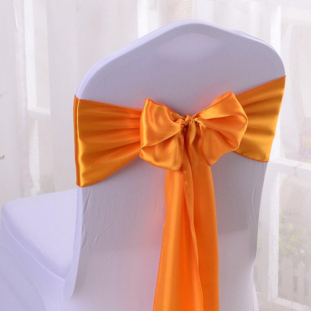 10pcs 17x275cm Satin Chair Bow Sash Wedding Reception Banquet