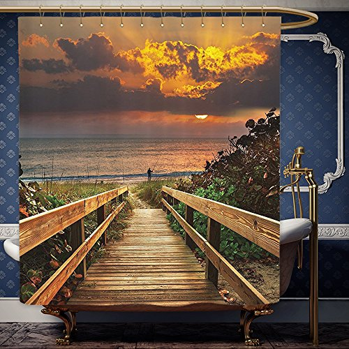 Wanranhome Custom-made shower curtain Retirement Fishing Tropical Sea Life Seascape Fisherman at Bali Bay Sunset Ocean Beach Scene For Bathroom Decoration 36 x 72 - Sunset Map Galleria At