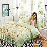 KFZ Bed SET Princess Style Lycra Cotton Lace 4pcs Bedding Flat Sheet Duvet Cover Pillowcases HT Twin Full Queen Size No Comforter Cat Rabbit Design For Girls (Flower Dance,Green, Twin,59''x79'')