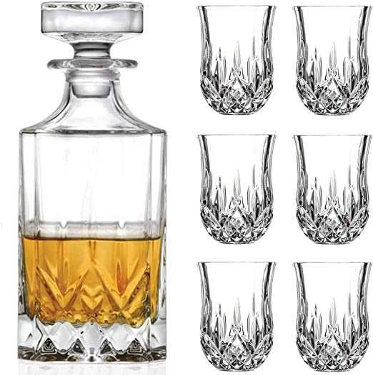 7 Piece Smart Glass Table Gift Set Decanter Set with 6 Glasses in Gift Box