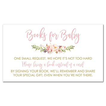 amazon co jp 48 cnt pink flowers baby shower book request cards