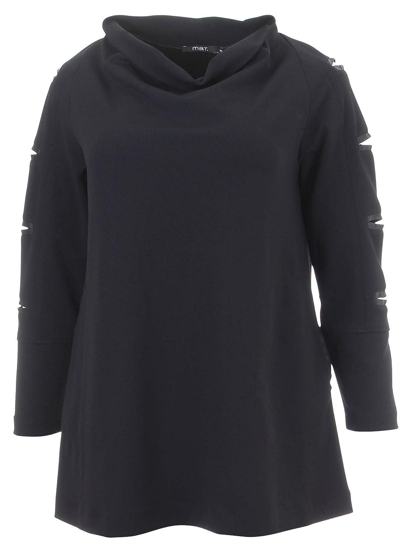 Langarmshirt mit Cut-Out-Elementen in schwarz in Übergrößen (L, M, S) von mat