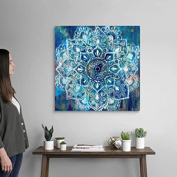 Amazon Com Mandala In Blue Ii Canvas Wall Art Print 30 X30 X1 25 Posters Prints