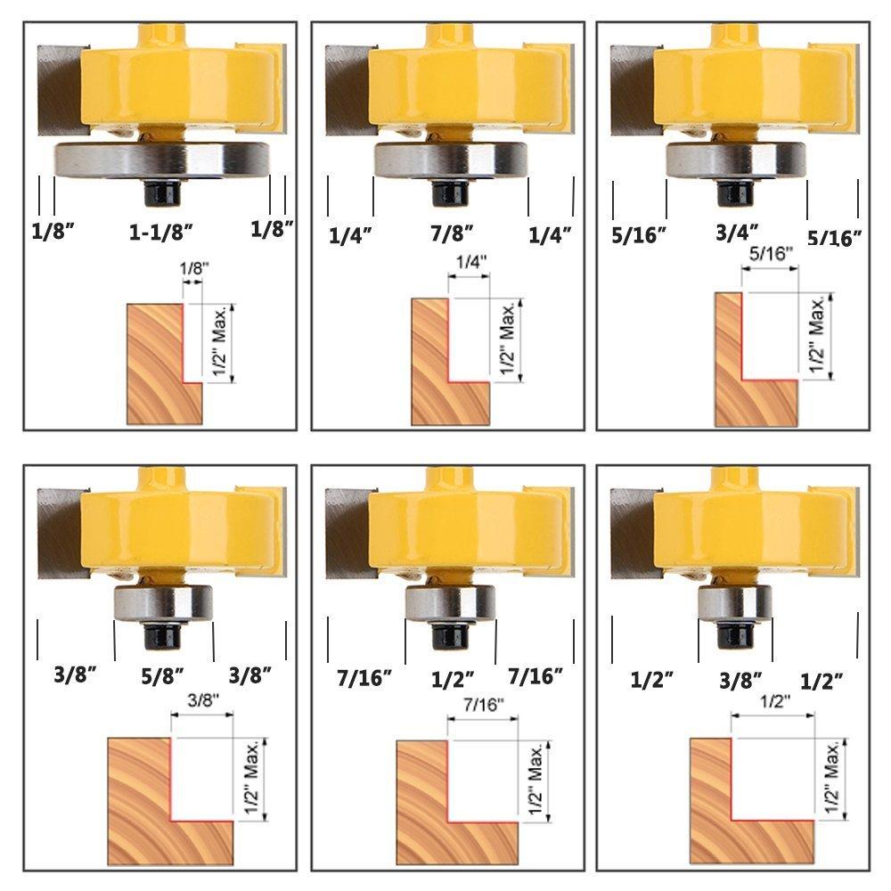 set per diverse profondit/à ,1 cm Yakamoz punta per fresa con 6 cuscinetti 0,6 cm 0,3 cm 0,95 cm 1,3 cm. 0,6/cm 0,8 cm