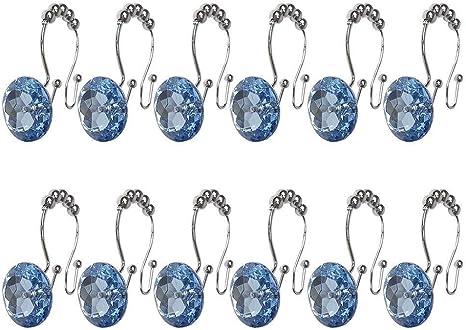 12 Pcs Decorative Rings Gems Shower Curtain hooks Rhinestones Crystal Bath Set