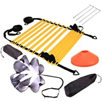 H&H 20ft Speed and Agility Ladder Training Set, Include 5 Disc Cones, Resistance Parachute, 4 Steel Stakes for Outdoor Workout, Improves Coordination, Speed, Power and Strength