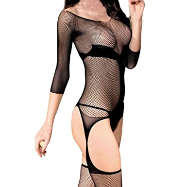 cc1c57081c2 Clearance 2018 Womens Waist Cincher Gothic Boned Basque Corset Bustier Top Sexy  Lingerie Fishnet Crotchless Babydoll Bodysuits Nightwear (Black)  ...