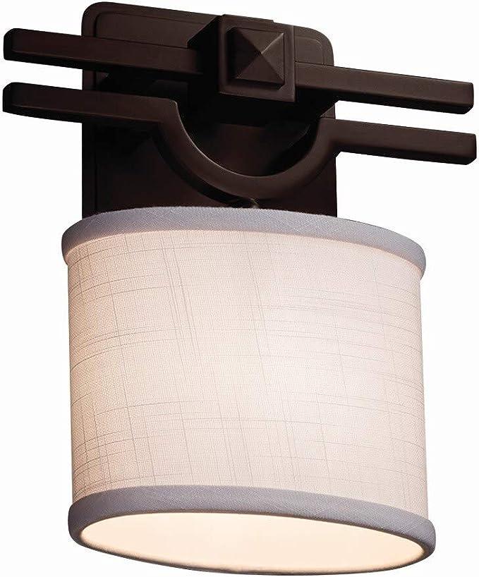 Argyle 1-Light Wall Sconce Justice Design Group Lighting FAB-8501-15-CREM-DBRZ Textile Cream Dark Bronze Square with Flat Rim Shade