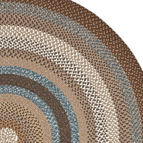 Safavieh Braided Collection BRD313A Hand Woven Brown and Multi Oval Area Rug (8 x 10 Oval)