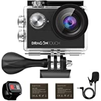 Dragon Touch Vision4 4K 16MP WiFi Action Camera with EIS 30m Underwater Waterproof Camera Support External Microphone Remote Control Sports Camera with 2 Batteries and Helmet Accessories Kit