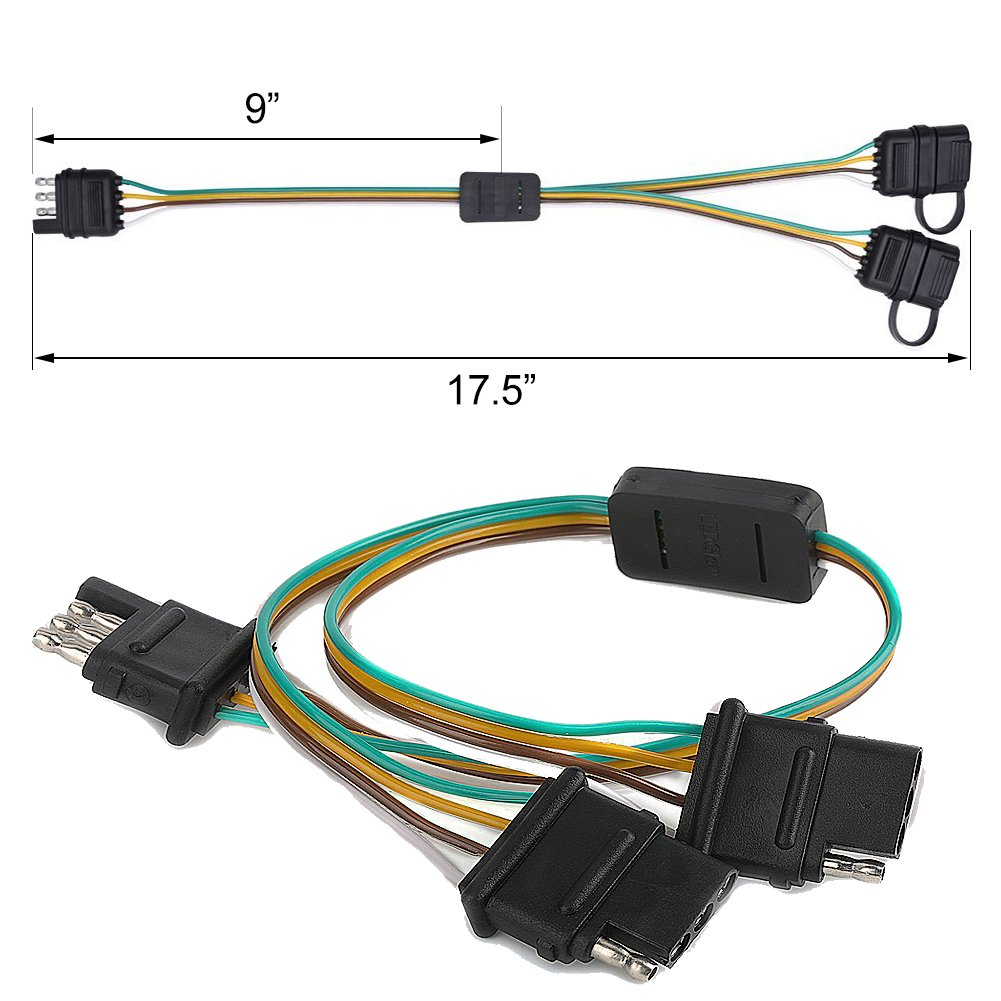 Qunqi Star Trailer Wire Harness 4 Pin Way Flat Y Boston Whaler Wiring Splitter Adapter With Caps For Led Tailgate Light Bar And Lights