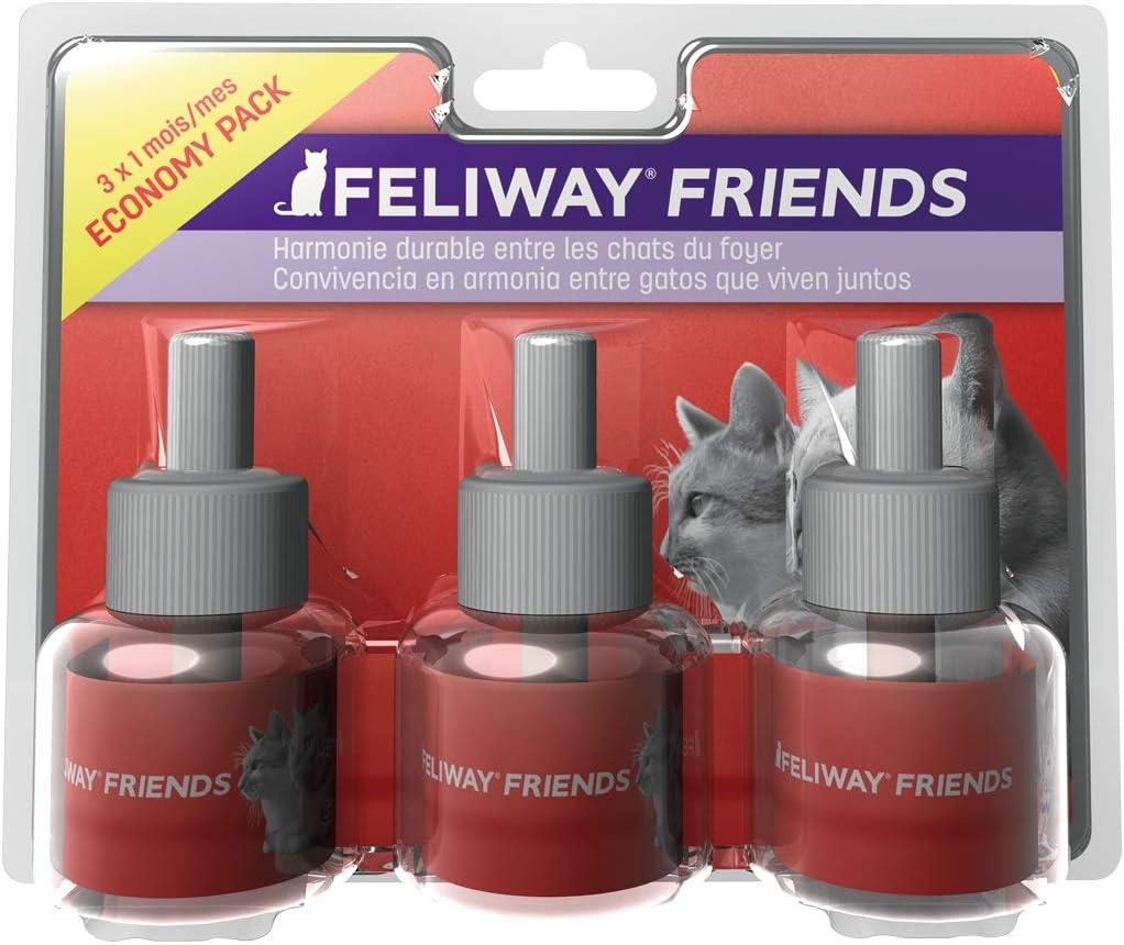 FELIWAY Friends - Anticonflictos para gatos - Peleas, Persecuciones, Bufidos, Bloqueos - Pack ahorro 3 recambios 48 ml