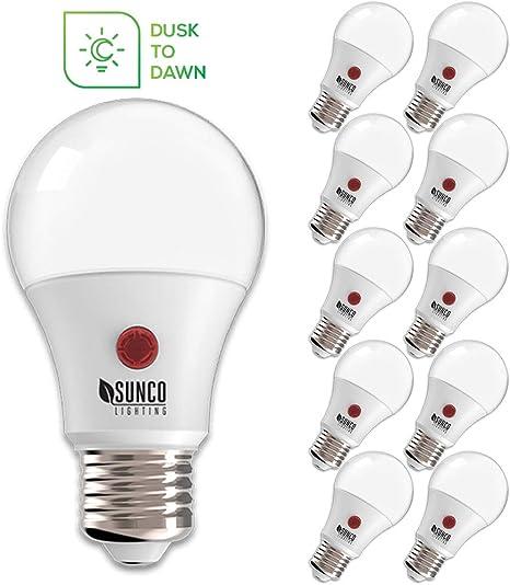 Sunco 8 Pack LED Dusk-2-Dawn A19 LE Light Bulb 9W Instant ON 2700K Soft White