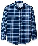 IZOD Men's Big Long Sleeve Oxford Plaid Shirt, Deep Estate Blue, X-Large Tall