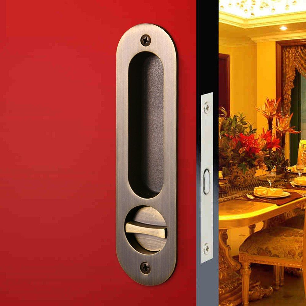 CCJH Invisible Door Locks Handle with Keys for Sliding Barn Wooden Door Furniture Hardware Ellipse Shaped(6.8''L1.77''W Bronze)