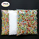 DYMY Foam Balls for Slime,3 Pack Colorful Styrofoam Foam Balls,0.08-0.35 Inch,Fits for DIY Wedding & Party Decoration