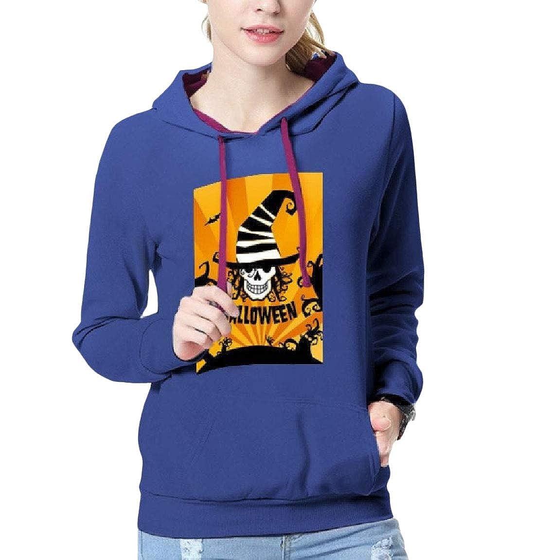 Highisa Women Graphic Print Pocket Hood Halloween Party Unisex Sweatshirt