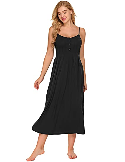 e18ffa95b5 Ekouaer Womens Nightgown Full Slips Dress With Scollop Falbala Small Black