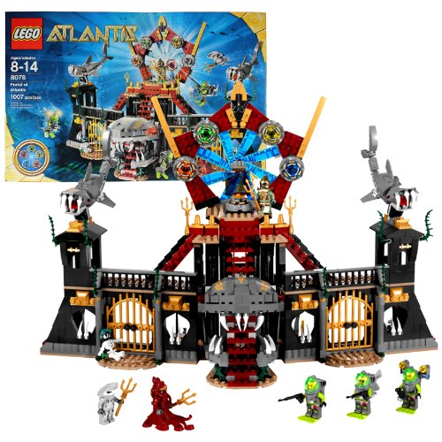 Lego Year 2010 Atlantis Series Set #8078 - PORTAL OF ATLANTIS with Shark Castle, 5 Atlantis Treasure Keys Plus 3 Divers, 1 Portal Emperor, 1 Squid Warrior, 1 Shark Warrior and 1 Skeleton Minifigures (Total Pieces: 1007)