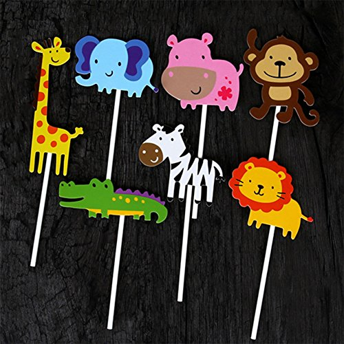 Qibote 35 Pieces Woodland Animal Cupcake Toppers Picks for Kids Baby Shower Birthday Party Cake Decoration Supplies (Animals Topper)