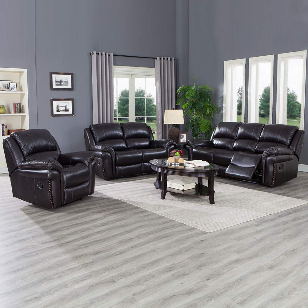 JUNTOSO 3-Piece Leather Reclining Sofa Set Leatherette Recliner for Living  Room, Dark Brown
