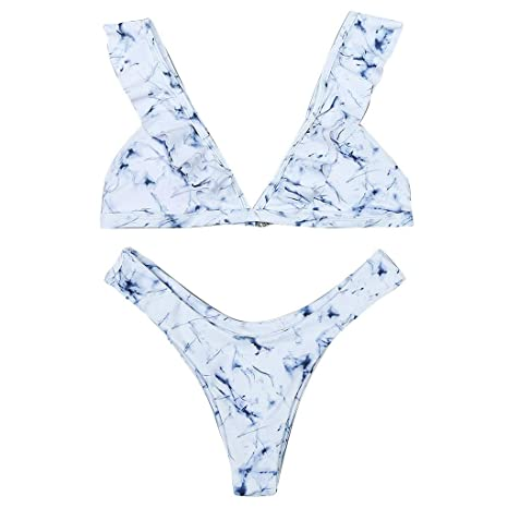 82c659320554 Slyar Bikinis Mujer 2019 Push Up Bikini Estampado De MáRmol Vendado ...