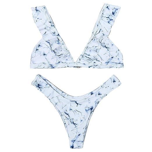 123f50b871 Lovewe Women Marble Print Padded Bra Beach Halter Bikini Set Sexy Swimwer  Ruffled Flounce (White