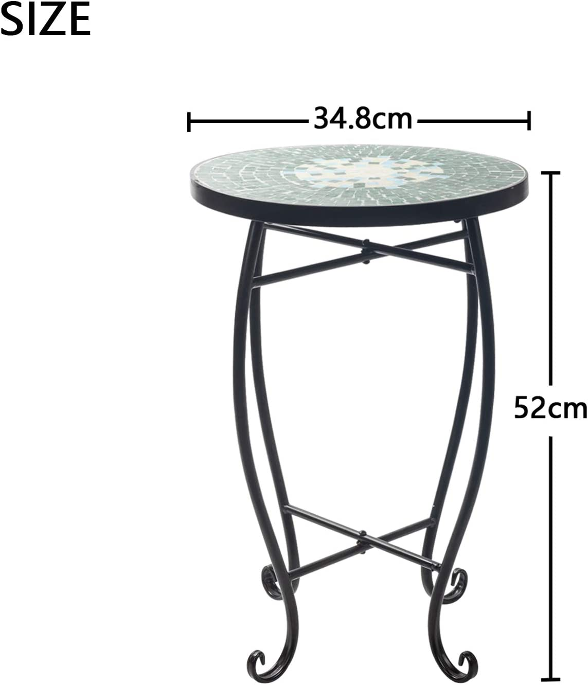 Green D4P Display4top Mosaic Round Outdoor Accent Table,Plant Flower Stand,Round Side Table,52 x 34.8cm
