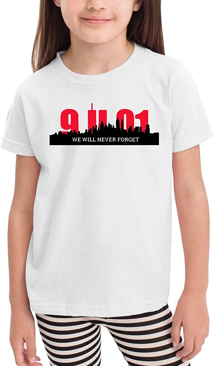 Baby Girls Kids We Will Never Forget 911 Soft Short Sleeve Tee Tops Size 2-6