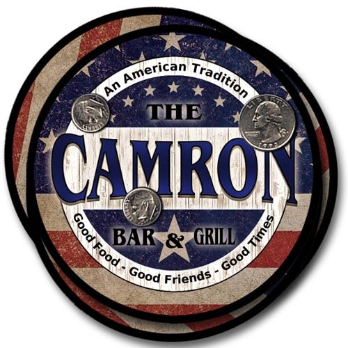 ZuWEE Brand Patriotic Bar and Grill Coaster Set Personalized with the Camron Family Name