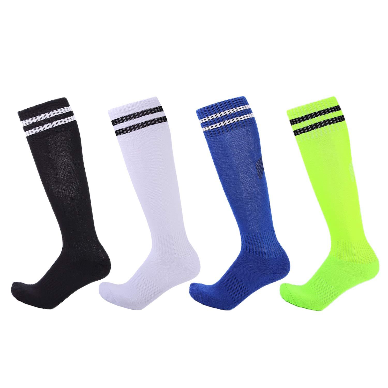 4 Pairs Boys Girls Soccer Socks Towel Cushioning Compression Sport Socks Cotton Team Socks for Children & Kids & Teenagers Black/White/Green/Sapphire by EBlife