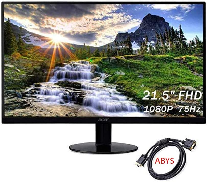 Acer 21.5'' Full HD (1920 x 1080) IPS 75Hz Ultra-Thin Zero Frame Monitor for Business and Student, AMD Radeon FreeSync Technology, 4ms Response Time, HDMI & VGA Port, ABYS VGA Cable, Black