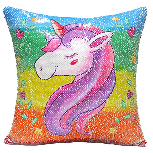 "Reversible Sequin Pillow Case Decorative Mermaid Pillow Cover Color Changing Cushion Throw Pillowcase 16"" x 16"",Unicorn and Silver"