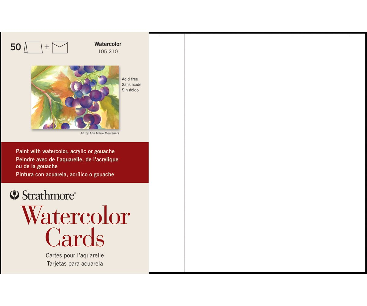 Strathmore (105-210 Watercolor Cards Full Size Cold Press, 50 Envelopes by Strathmore