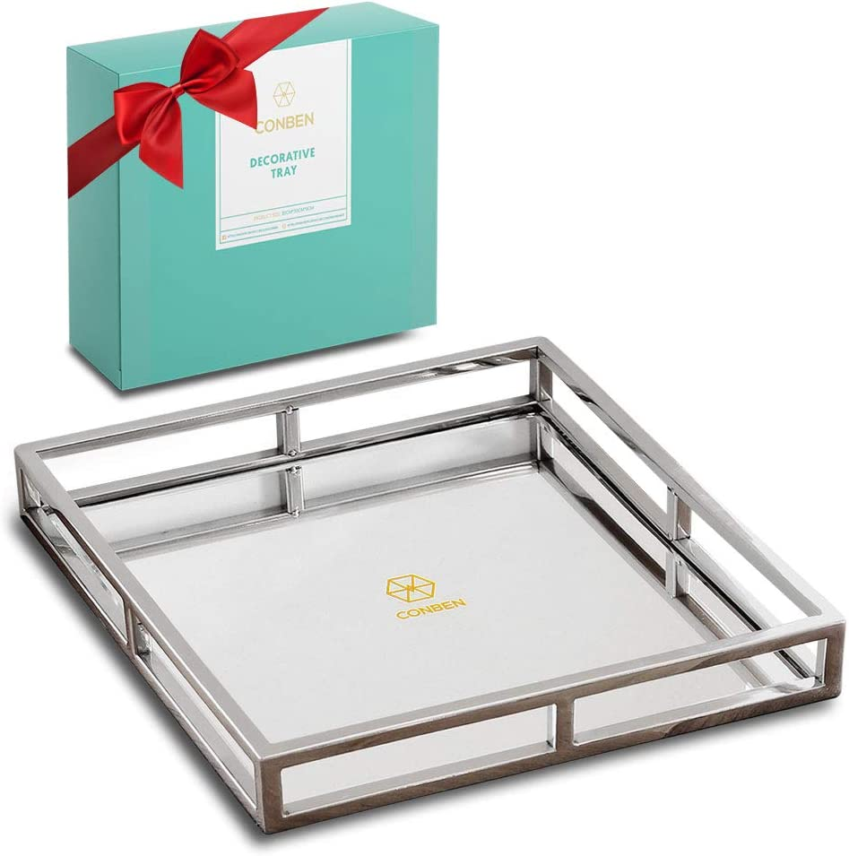 CONBEN Decorative Tray - Square Stainless Steel Mirror Holder - Candles, Skincare, Makeup, Perfumes - Large Mirrored Dining Table Centerpiece, Vanity Organizer, Jewelry Display, and Home Decoration
