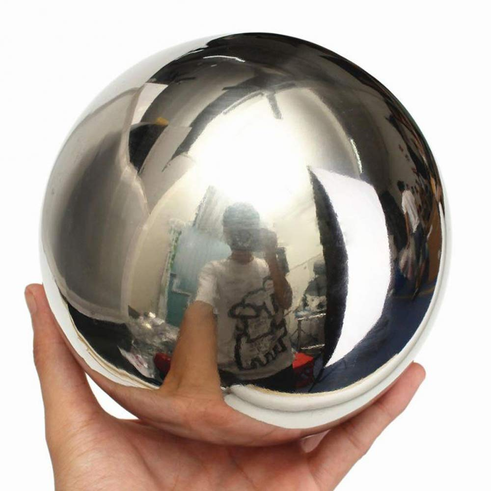 Yunhigh Stainless Steel Gazing Ball Mirror Ball Sphere Decorative Metal Golden Ball Table Home Garden Ornament, 7.87 inch