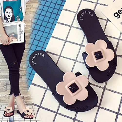 Lolittas Ladies Flat Flower Slippers Sandal for Women Size 2-7 ,Beach Summer Outdoor Non Slip Soft Embellished Open Toe Wide Fit Cushioned Shoes Black OtpG66yBi
