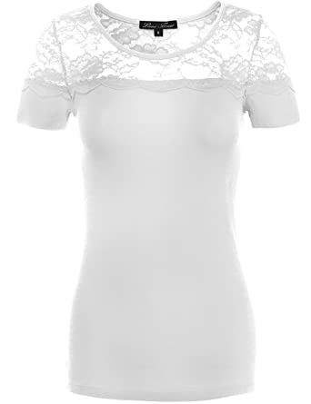 760b6f3d8777e Amazon.com  Fashionable Fitted Floral Lace Cotton Knit Shirts (YFQC ...